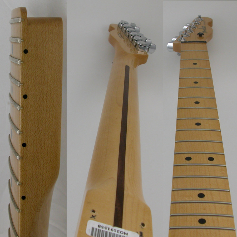 Front and back of my Fender Telecaster neck, plus heal